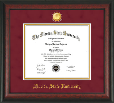 Image of Florida State University Diploma Frame - Rosewood - w/24k Gold-Plated Medallion FSU Name Embossing - Garnet Suede on Gold mats