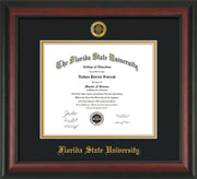Image of Florida State University Diploma Frame - Rosewood - w/Embossed FSU Seal & Name - Black on Gold mats