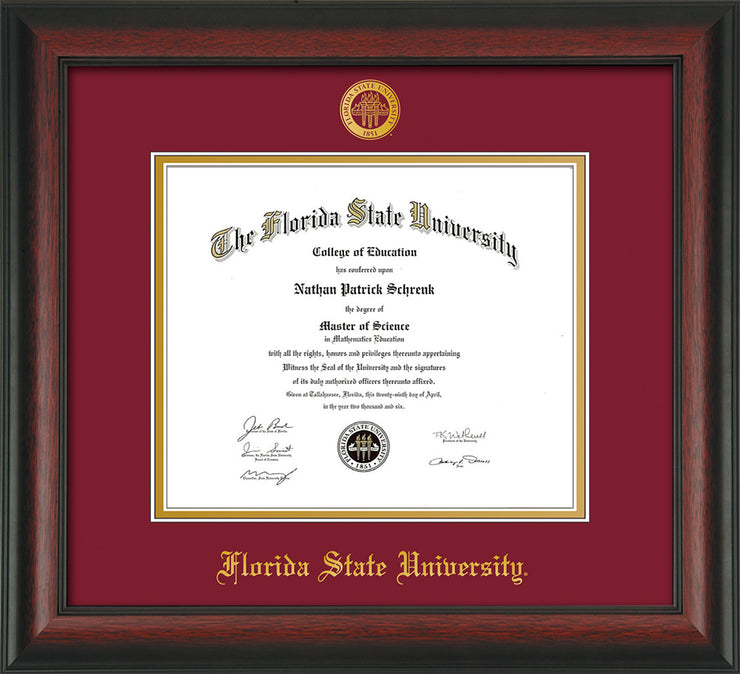 Image of Florida State University Diploma Frame - Rosewood - w/Embossed FSU Seal & Name - Garnet on Gold mats