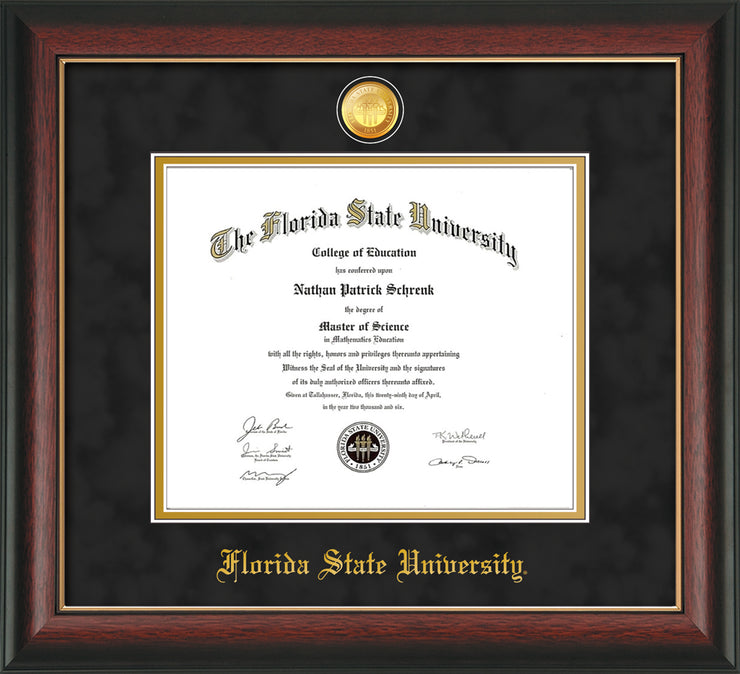 Image of Florida State University Diploma Frame - Rosewood w/Gold Lip - w/24k Gold-Plated Medallion FSU Name Embossing - Black Suede on Gold mats