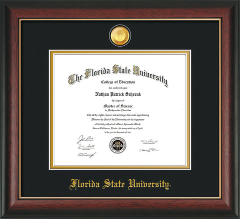 Image of Florida State University Diploma Frame - Rosewood w/Gold Lip - w/24k Gold-Plated Medallion FSU Name Embossing - Black on Gold mats