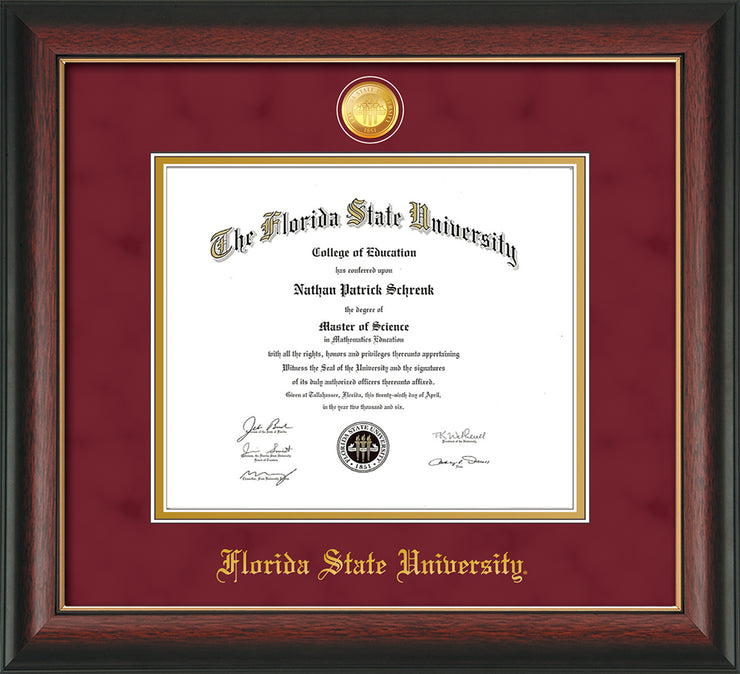 Image of Florida State University Diploma Frame - Rosewood w/Gold Lip - w/24k Gold-Plated Medallion FSU Name Embossing - Garnet Suede on Gold mats