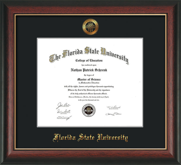 Image of Florida State University Diploma Frame - Rosewood w/Gold Lip - w/Embossed FSU Seal & Name - Single Black mat