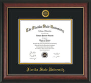 Image of Florida State University Diploma Frame - Rosewood w/Gold Lip - w/Embossed FSU Seal & Name - Black on Gold mats