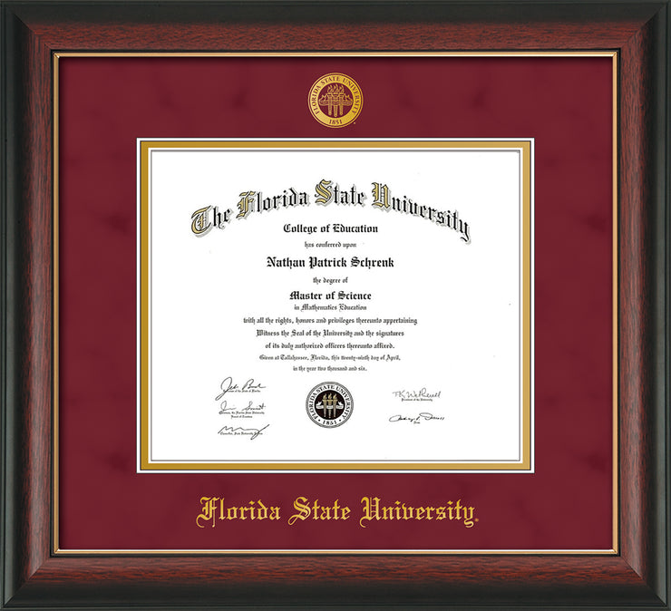 Image of Florida State University Diploma Frame - Rosewood w/Gold Lip - w/Embossed FSU Seal & Name - Garnet Suede on Gold mats
