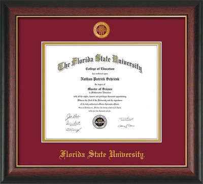 Image of Florida State University Diploma Frame - Rosewood w/Gold Lip - w/Embossed FSU Seal & Name - Garnet on Gold mats