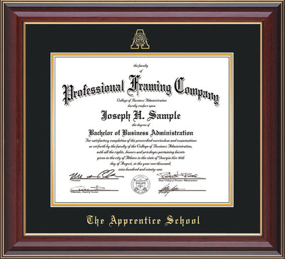 Image of The Apprentice School Diploma Frame - Cherry Lacquer - w/Embossed AS Seal & Name - Black on Gold mat