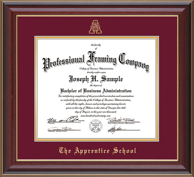 Image of The Apprentice School Diploma Frame - Cherry Lacquer - w/Embossed AS Seal & Name - Maroon on Gold mat
