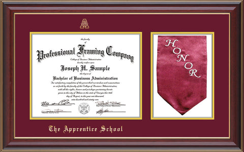 Image of The Apprentice School Diploma Frame - Cherry Lacquer - w/Embossed AS Seal & Name - w/Sash Holder - Maroon on Gold mat