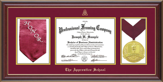 Image of The Apprentice School Diploma Frame - Cherry Lacquer - w/Embossed AS Seal & Name - w/Sash & Medallion Holder - Maroon on Gold mat
