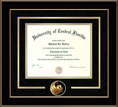 Image of University of Central Florida Diploma Frame - Black Lacquer - 3D Laser Pegasus Logo Cutout - Black Suede on Gold mat