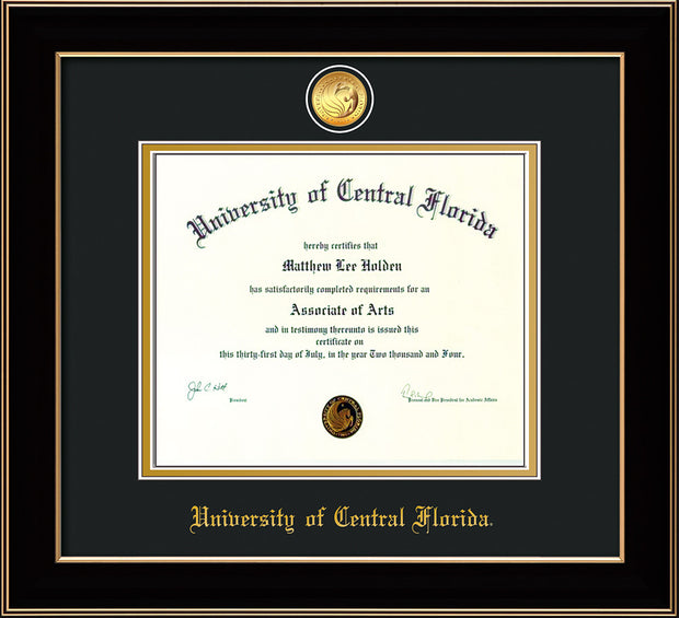 Image of University of Central Florida Diploma Frame - Black Lacquer - w/24k Gold-Plated Medallion UCF Name Embossing - Black on Gold mats