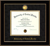 Image of University of Central Florida Diploma Frame - Black Lacquer - w/24k Gold-Plated Medallion UCF Name Embossing - Black Suede on Gold mats