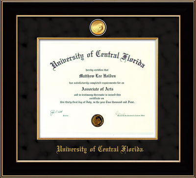 Image of University of Central Florida Diploma Frame - Black Lacquer - w/24k Gold-Plated Medallion & Fillet - w/UCF Name Embossing - Black Suede mat