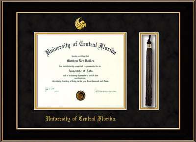 Image of University of Central Florida Diploma Frame - Black Lacquer - w/Embossed UCF Seal & Name - Tassel Holder - Black Suede on Gold mat