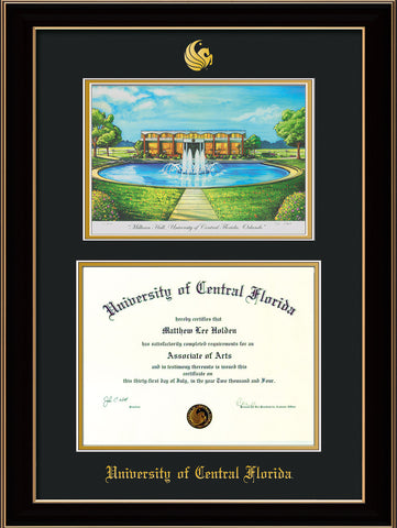 Image of University of Central Florida Diploma Frame - Black Lacquer - w/Embossed UCF Seal & Name - Watercolor - Black on Gold mat