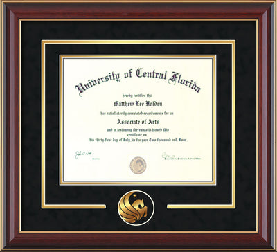 Image of University of Central Florida Diploma Frame - Cherry Lacquer - 3D Laser Pegasus Logo Cutout - Black Suede on Gold mat