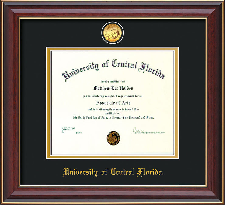Image of University of Central Florida Diploma Frame - Cherry Lacquer - w/24k Gold-Plated Medallion UCF Name Embossing - Black on Gold mats