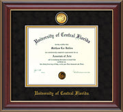 Image of University of Central Florida Diploma Frame - Cherry Lacquer - w/24k Gold-Plated Medallion UCF Name Embossing - Black Suede on Gold mats