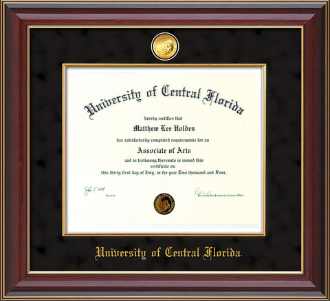 Image of University of Central Florida Diploma Frame - Cherry Lacquer - w/24k Gold-Plated Medallion & Fillet - w/UCF Name Embossing - Black Suede mat