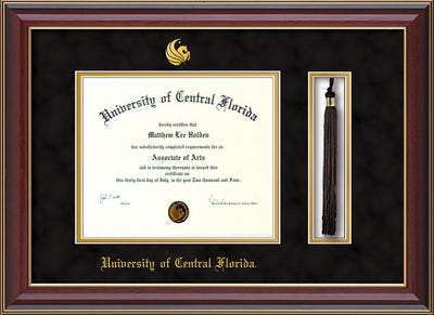 Image of University of Central Florida Diploma Frame - Cherry Lacquer - w/Embossed UCF Seal & Name - Tassel Holder - Black Suede on Gold mat