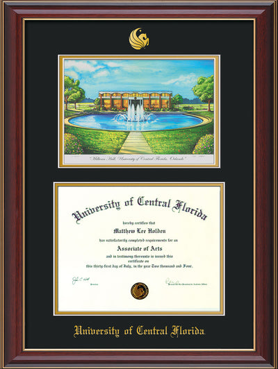 Image of University of Central Florida Diploma Frame - Cherry Lacquer - w/Embossed UCF Seal & Name - Watercolor - Black on Gold mat