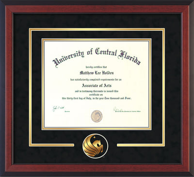University of Central Florida Diploma Frame - Cherry Reverse - 3D Laser Pegasus Logo Cutout - Black Suede on Gold mat