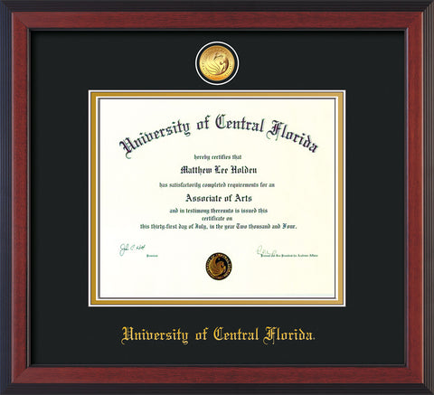 Image of University of Central Florida Diploma Frame - Cherry Reverse - w/24k Gold-Plated Medallion UCF Name Embossing - Black on Gold mats