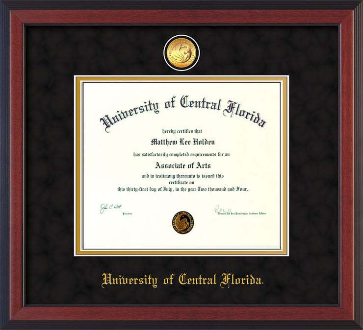 Image of University of Central Florida Diploma Frame - Cherry Reverse - w/24k Gold-Plated Medallion UCF Name Embossing - Black Suede on Gold mats