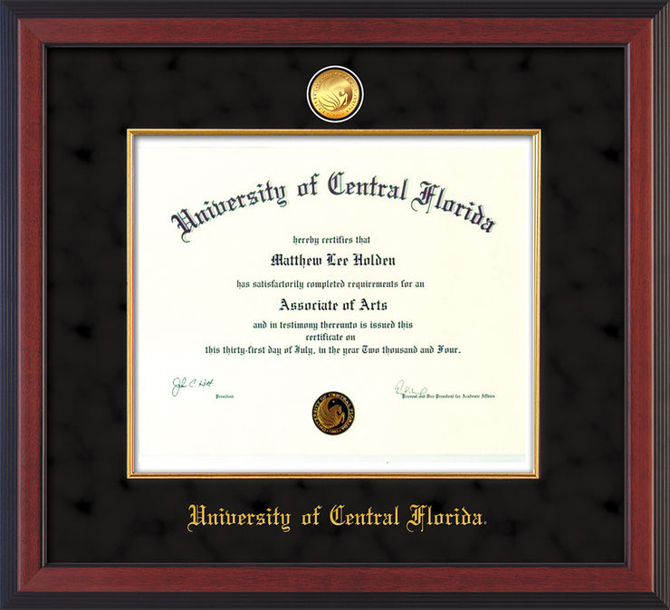 Image of University of Central Florida Diploma Frame - Cherry Reverse - w/24k Gold-Plated Medallion & Fillet - w/UCF Name Embossing - Black Suede mat