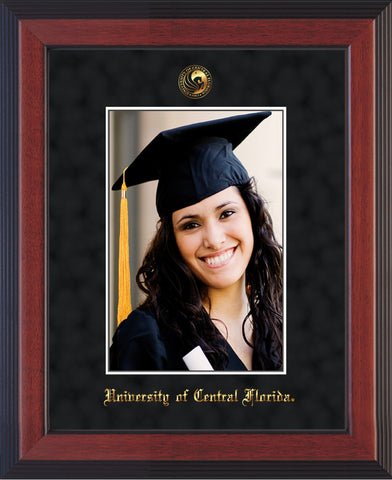 University of Central Florida 5 x 7 Photo Frame - Cherry Reverse - w/Official Embossing of UCF Seal & Name - Single Black Suede mat