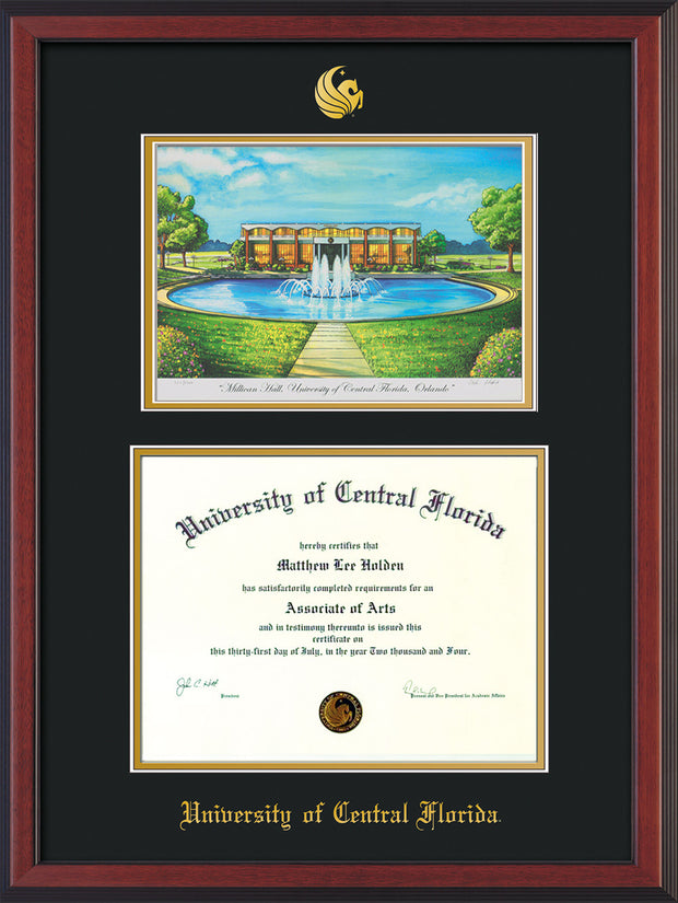 Image of University of Central Florida Diploma Frame - Cherry Reverse - w/Embossed UCF Seal & Name - Watercolor - Black on Gold mat