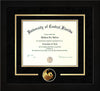 Image of University of Central Florida Diploma Frame - Flat Matte Black - 3D Laser Pegasus Logo Cutout - Black Suede on Gold mat