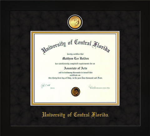 Image of University of Central Florida Diploma Frame - Flat Matte Black - w/24k Gold-Plated Medallion UCF Name Embossing - Black Suede on Gold mats