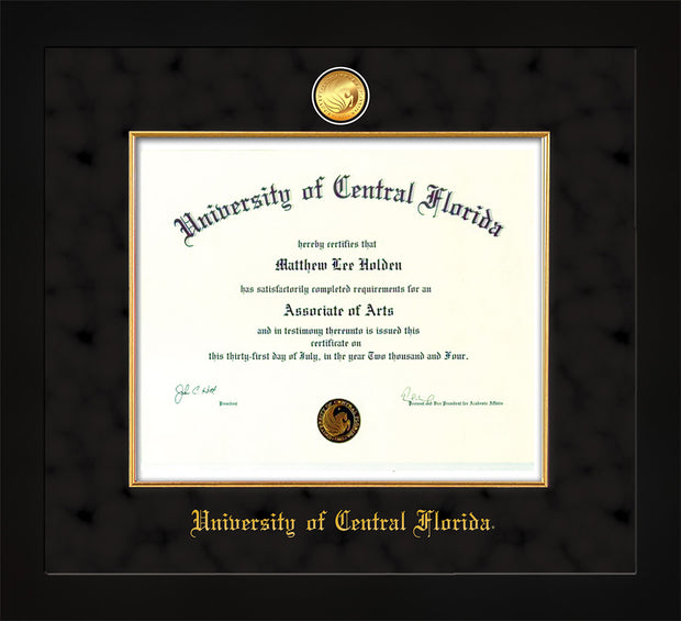 Image of University of Central Florida Diploma Frame - Flat Matte Black - w/24k Gold-Plated Medallion & Fillet - w/UCF Name Embossing - Black Suede mat