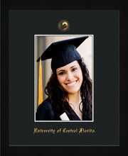 Image of University of Central Florida 5 x 7 Photo Frame - Flat Matte Black - w/Official Embossing of UCF Seal & Name - Single Black mat