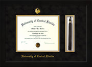 Image of University of Central Florida Diploma Frame - Flat Matte Black - w/Embossed UCF Seal & Name - Tassel Holder - Black Suede on Gold mat