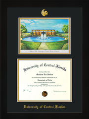 Image of University of Central Florida Diploma Frame - Flat Matte Black - w/Embossed UCF Seal & Name - Watercolor - Black on Gold mat