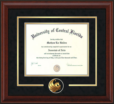 University of Central Florida Diploma Frame - Mahogany Bead - 3D Laser Pegasus Logo Cutout - Black Suede on Gold mat