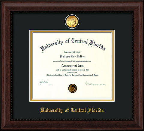 Image of University of Central Florida Diploma Frame - Mahogany Bead - w/24k Gold-Plated Medallion UCF Name Embossing - Black on Gold mats