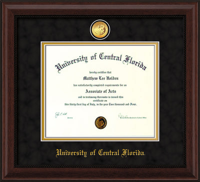 Image of University of Central Florida Diploma Frame - Mahogany Bead - w/24k Gold-Plated Medallion UCF Name Embossing - Black Suede on Gold mats