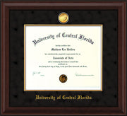 Image of University of Central Florida Diploma Frame - Mahogany Bead - w/24k Gold-Plated Medallion & Fillet - w/UCF Name Embossing - Black Suede mat