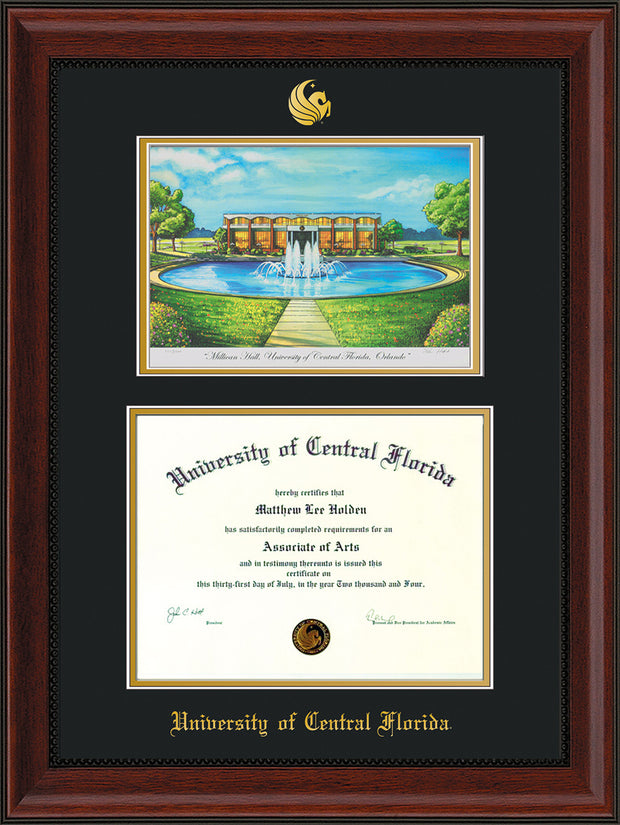 Image of University of Central Florida Diploma Frame - Mahogany Bead - w/Embossed UCF Seal & Name - Watercolor - Black on Gold mat