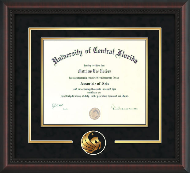University of Central Florida Diploma Frame - Mahogany Braid - 3D Laser Pegasus Logo Cutout - Black Suede on Gold mat