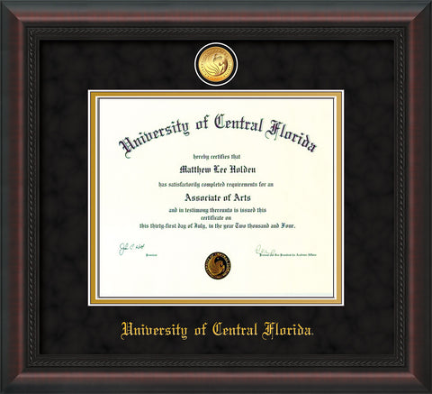 Image of University of Central Florida Diploma Frame - Mahogany Braid - w/24k Gold-Plated Medallion UCF Name Embossing - Black Suede on Gold mats