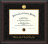 Image of University of Central Florida Diploma Frame - Mahogany Braid - w/24k Gold-Plated Medallion & Fillet - w/UCF Name Embossing - Black Suede mat