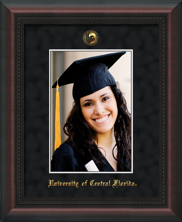 University of Central Florida 5 x 7 Photo Frame - Mahogany Braid - w/Official Embossing of UCF Seal & Name - Single Black Suede mat