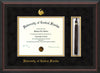 Image of University of Central Florida Diploma Frame - Mahogany Bead - w/Embossed UCF Seal & Name - Tassel Holder - Black Suede on Gold mat