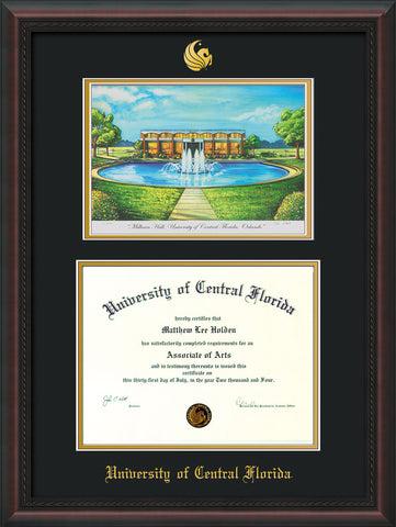 Image of University of Central Florida Diploma Frame - Mahogany Braid - w/Embossed UCF Seal & Name - Watercolor - Black on Gold mat
