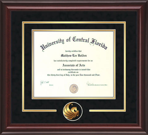 University of Central Florida Diploma Frame - Mahogany Lacquer - 3D Laser Pegasus Logo Cutout - Black Suede on Gold mat
